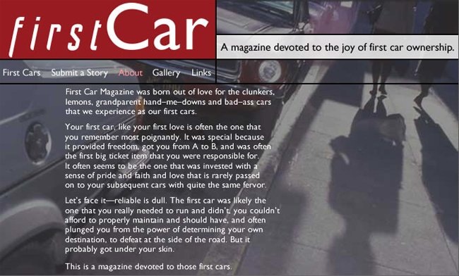 Original about page - First Car Magazine